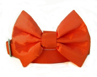 Satin Wedding Bow Tie Dog Collar - Orange Satin