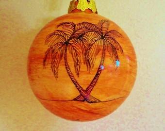 Christmas Ornament Holiday Ornament Coastal Ceramic Palm Trees
