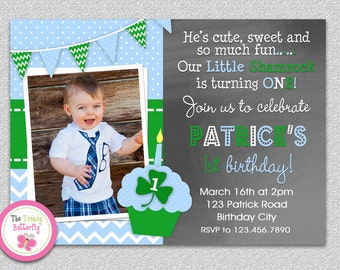 Boys St. Patrick's Day Birthday Invitation , St. Patrick's  Chalkboard Birthday Party Invitation Boys or Girls