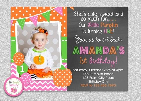 Pumpkin Birthday Invitation Girls Party