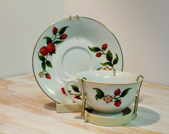 Vintage Teleflora Saucer and Cup, Strawberries with Stand