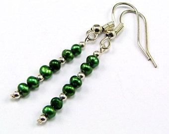 Emerald Green Freshwater Pearl Sterling Earrings - MER1