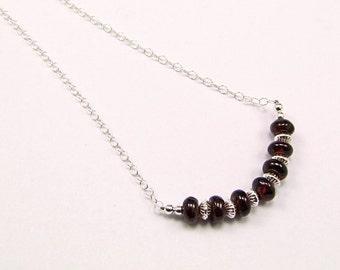 Garnet & Sterling Silver Micro Necklace - N716