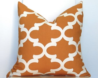 Le Souk Moroccan Pillow Cover - more sizes - Orange - Trellis Pillow - Decorative Pillow - Throw Pillow - Lattice Pillow - Quatrefoil
