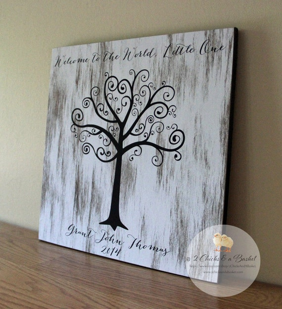 Baby shower fingerprint tree sign guest book alternative welcome to