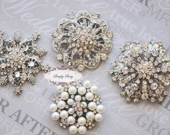 Rhinestone Brooch Pin - Brooch Jewelry Components Rhinestone Embellishments - Rhinestone Jewelry - DIY Wedding - DIY Brooch Bouquet Supplies