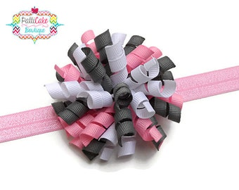 Gray, White & Pink Korker Hair Bow Headband, Adjustable Pink Headband, Korker Hair Bow Clip, Baby Hair Bow, Newborn Bow, Infant Headband, 60