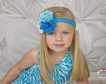 Girls Headband, Turquoise Flower Headband, Shabby Headband, Baby Girls Headband, Toddler Headband, Baby Headband, Birthday Headband