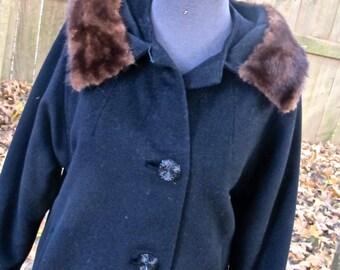 SALE vintage mink-collar coat - 1950s black wool fur collar coat