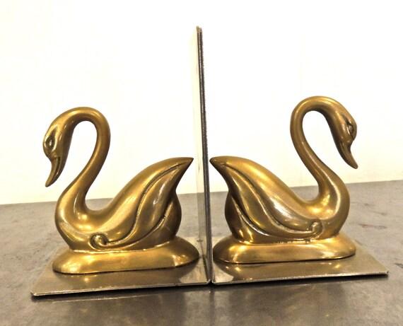 vintage brass swan bookends by mkmack on etsy