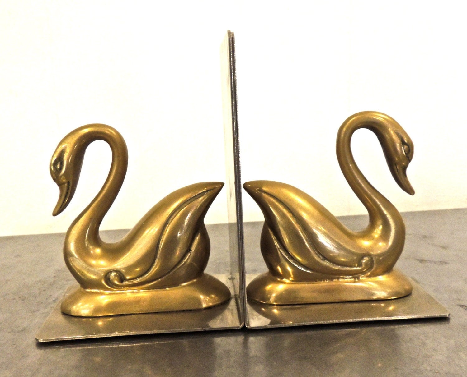 vintage brass swan bookends by mkmack on etsy