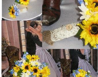 NEW Silk Sunflower & Texas Bluebonnet Country Wedding, Rustic Wedding Bouquets