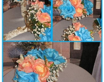New Coral & Malibu Bridal Bouquets Set, Coral Bridal Bouquet with Teal