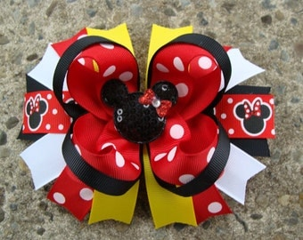 Minnie Mouse Hair Bows Large Hair bow Red Yellow and Black Minnie Mouse Hair Bow