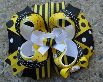 Bumble Bee Hair Bow yellow and black Hair Bow Black Yellow and White Hair Bow Large Hair Bow boutique Hair Bow