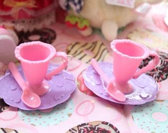 SALE Fairy Kei Tea Cup Dangle Earrings super tiny WAS 6.50