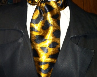 Cravat, In A Gold and Black Leopard Pattern or Ascot Mens Victorian Tie.
