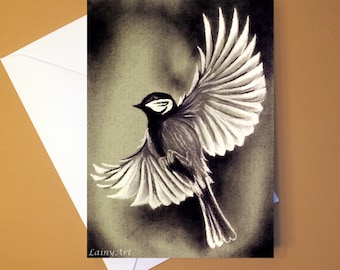Art Greeting Card  - Created from Original ACEO drawing for Charity - Blank Notecard - 4x6 - Bird in flight - Day 288