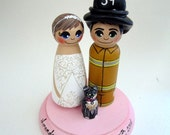 Wedding Cake Topper / Custom Painted Wood Peg Dolls / Firefighter / Bride / Nurse/ Couple Plus One Pet and Plaque