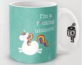 Unicorn Rainbow MATURE Coffee mug Unicorn Artwork by Lucy Dynamite