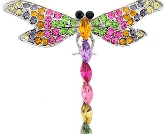 Multicolor Crystal Dragonfly Pin Brooch 1003291