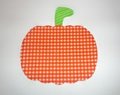 Iron On Applique PUMPKIN Halloween Fall Or Harvest...Orange Gingham