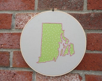 "10"" Custom State Embroidery Hoop Wall Art"
