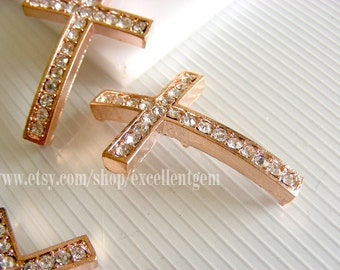 Rhinestone crosses connector Clearance 20 Light rose gold plated with Crystal rhinestone Side way Cross Bracelet Connector-