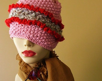 Pink Red Ruffled Hat With Matching Fingerless Gloves