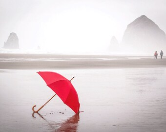Beach Photography, The Red Umbrella, RED, Summer Photograph, Cool, Misty, Fog, Beach, Ocean Photograph, Cannon Beach Oregon