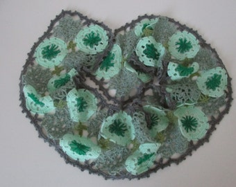 Crocheted soft and warm scarf in 5 pastel colors, light green, dark green, pastel green and dark and light grey