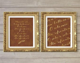 O Sole Mio Song Lyric Wall Art (Set of 2) 8x10 - Instant Download Brown Faux Gold Foil Italian Italy Il Volo Digital Printable Home Decor