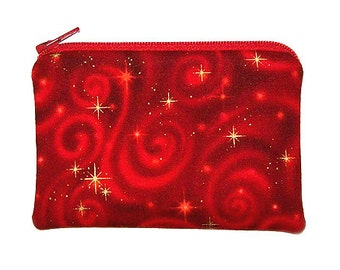 Gold Starbursts on Red Change Purse Small Zipper Pouch