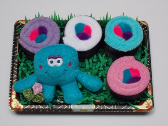 Sushi Baby - Shower Favor - Washcloth Sushi - Terry Octopus Finger Puppet
