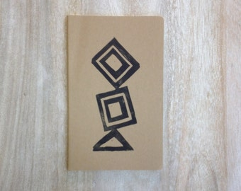 Tribal and geometric hand printed large notebook travel journal