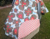 Baby Car Seat Cover - Baby Car Seat Canopy - Red Car Seat Canopy - Floral Car Seat Cover - Baby Shower Gift - Grey Car Seat Canopy
