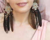Long Tribal Earrings - Dreamcatcher Earrings - Feather Earrings
