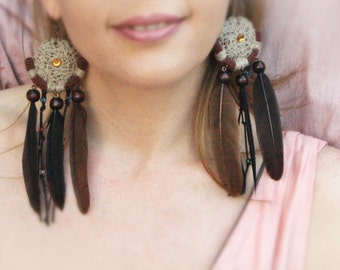 Long Tribal Earrings, Dreamcatcher Earrings, Feather Earrings