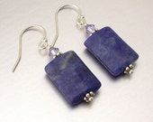 Sterling Silver Sodalite & Swarovski Crystal Drop Earrings