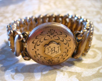 Vintage Art Deco Sweetheart Expandable Bracelet Monogram EBJ