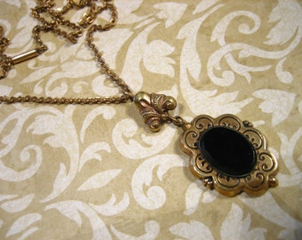 Victorian GF Black Onyx Mourning Necklace