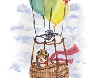 Dog Watercolor PRINT - Chihuahua Painting, 8x10 Print, Hot Air Balloon, Nursery Art