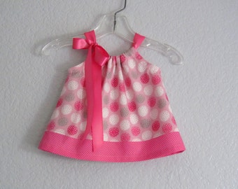Baby Girls Pink Valentines Dress - Pink & Grey Flowers and Polka Dots - Pink Pillowcase Dress and Bloomers- Size Nb, 3m, 6m, 9m, 12m or 18m