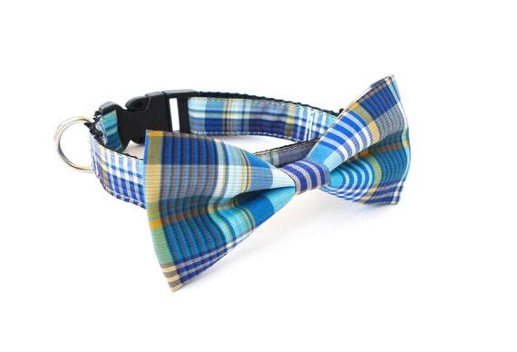 Dog Bow tie collar -Plaid Blue- designer dog collar, designer collar for ring bearer, dog lover, usagiteam dog collar, pet bow tie collar