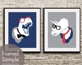 T-Rex and Triceratops (RAWR and GRRR) Set of 2 - Art Print (Featured in Navy, Dolphin, Barberry and Black) Childrens Room Art