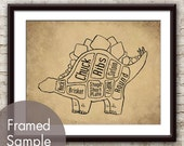 Stegosaurus, Dinosaur Butcher Diagram Series - Art Print (Featured in Cork Board with Black) Buy 3 and get One Free