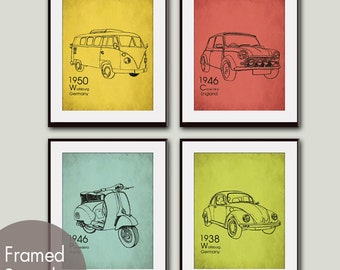 VINTAGE RIDES (series B) - Set of 4- 8x10 Prints  (Featured in Textured Canary Yellow, Barberry Red, Happy Blue and Lime Zest)