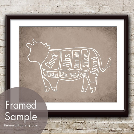 Beef Butcher Diagram of a Cow - Art Print (featured in Vintage Parchment) Kitchen Art Print (Buy 3 and get One Free)