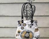 Fabric Handbag Purse Black Gray Mustard Ivory Floral