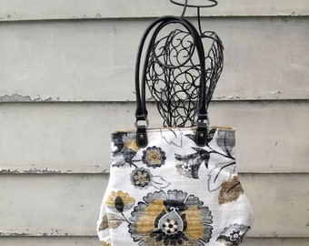 Fabric Handbag Purse Black Gray Mustard Ivory Floral